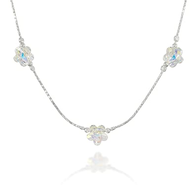 762fd962b9433 Stera Jewelry Choice of Girls Silver Necklace Made with Swarovski Crystal  Flowers, 16 + 4 Inches