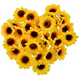 """YEDREAM Artificial Sunflower Heads, 2.8"""" Fake Simulation Flower Head for Home Party Wedding Cake Decoration, 30 PCS (Yellow)"""