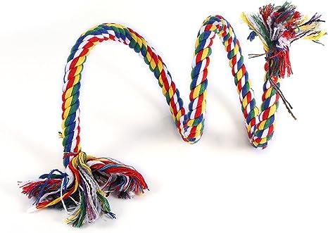 Fdit Juguete Cuerda de Espiral de Pájaro Mascota Colorido Loro Colgante Cuerda de Algodón Oscilación Escalada Masticar Juguete de Pie