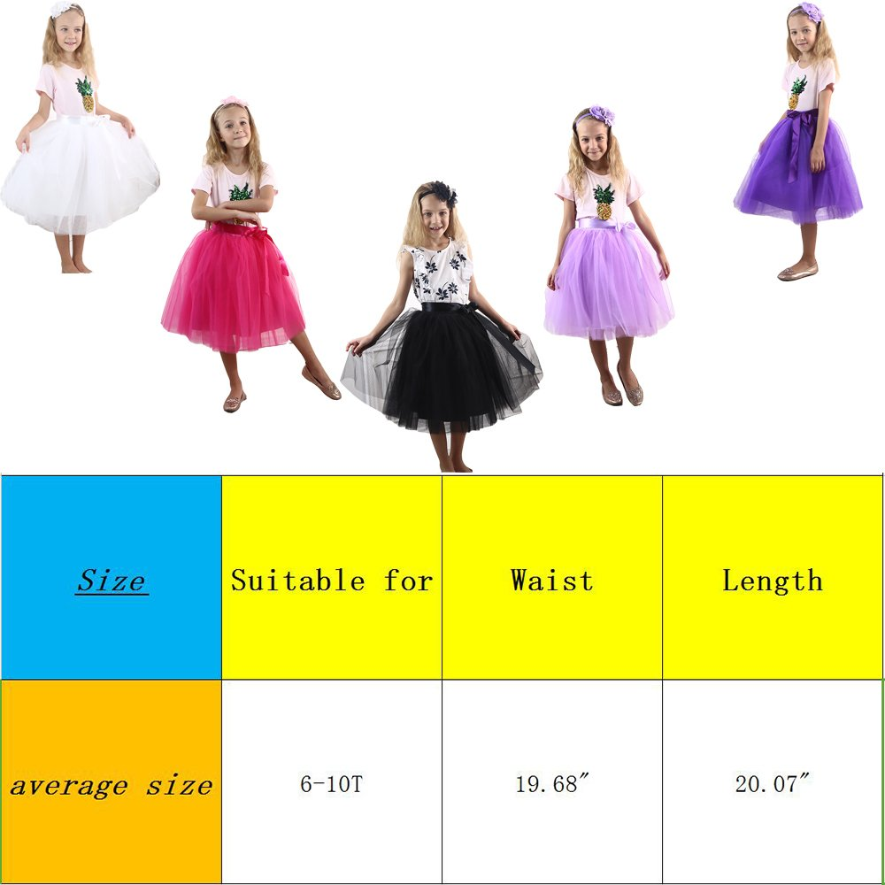 Zcaynger Girls Skirt Tutu Dancing Dress 5-Layer Fluffy with Ribbon by Zcaynger (Image #5)