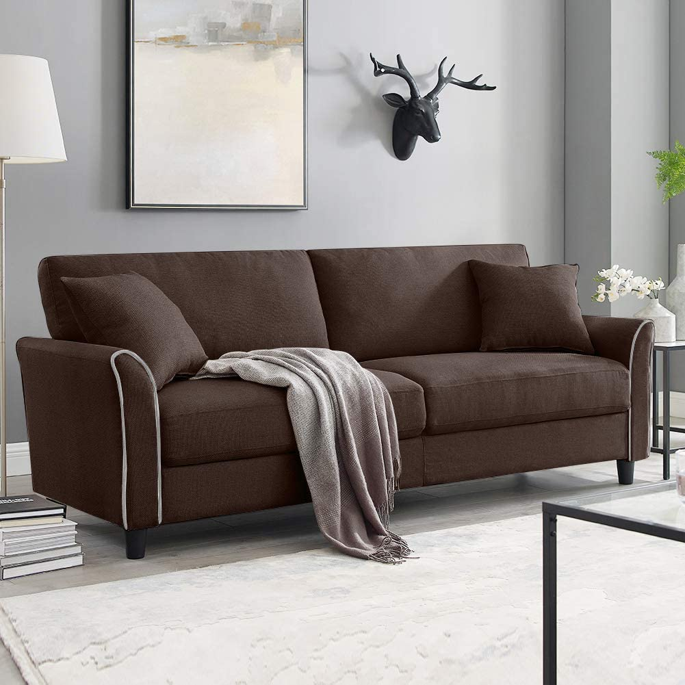 Tribesigns Mid Century Upholstered 20 Inch Sofa Couch Brown Modern ...