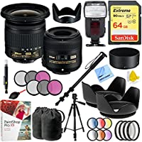 Nikon Landscape and Macro Two Lens Kit with AF-P 10-20mm VR and AF-S 40mm Lens Plus Kodak Flash and 64GB Accessories Bundle