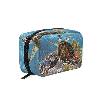 Bolsa de maquillaje, tortuga verde, bolsa de cosméticos azul ...