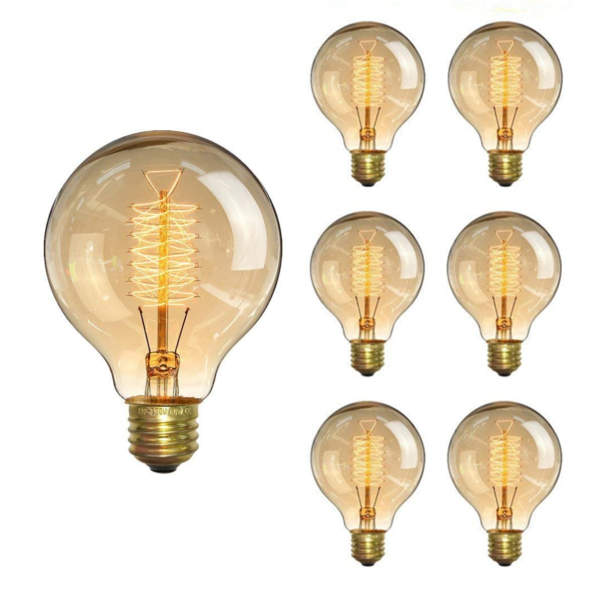 KINGSO Vintage Edison Bulb 60W Incandescent Antique Light Bulb Dimmable Squirrel Cage Filament E26 Base G80 110V (6 Pack)
