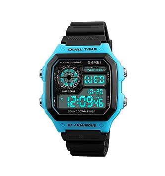 ML Reloj Digital Deportivo Masculino, Masculino y Femenino, Reloj Infantil cronógrafo Luminoso multifunción al Aire Libre Impermeable Militar Reloj,Blue: ...