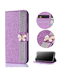 Stysen Galaxy S8 Wallet Case,Galaxy S8 Glitter Flip Case,3D DIY Handmade Shiny Bling Sparkle Diamond Rhinestone Pattern Purple Pu Leather Soft Inner Folio Magnetic Closure Bookstyle Card Slots Pouch with Strass Butterfly Bowknot Buckle and Stand Function Luxury Fashinable Elegant Protective Wallet Case Cover for Samsung Galaxy S8-Diamond,Purple