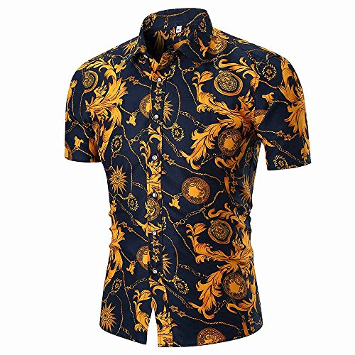 (sweetnice man clothing Men's Short Sleeve Button Down Shirt Floral Print Beach Hawaiian Retro Paisley Dress Shirt)