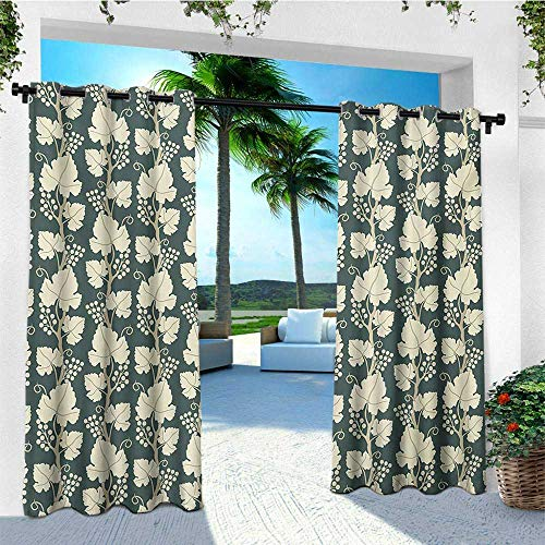 (leinuoyi Vineyard, Porch Curtains Outdoor Waterproof, Ornate Lattice Pattern Floral Style Agriculture Theme Vineyard Grape Fruit Branch, for Pergola W72 x L96 Inch Green Beige)