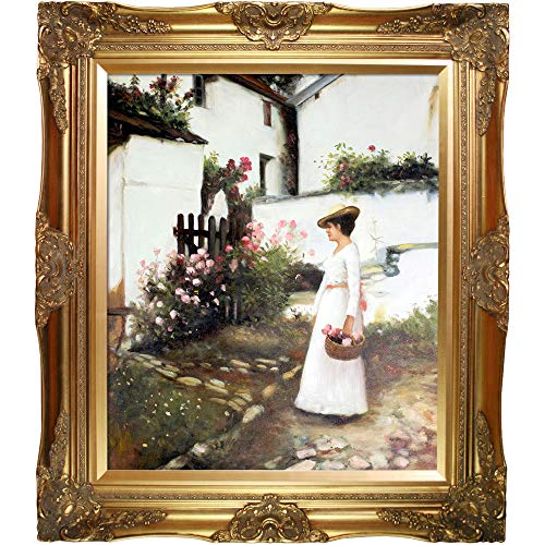 (overstockArt WA3151-FR-446G20X24 Gathering Summer Flowers in a Devonshire Garden by John William Waterhouse Framed Hand Painted Oil on Canvas, Not Applicable)