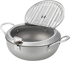 boral Cook Frying Pot, Tempura Deep Fryer with a Thermometer and a Lid, 8-inch, Silver