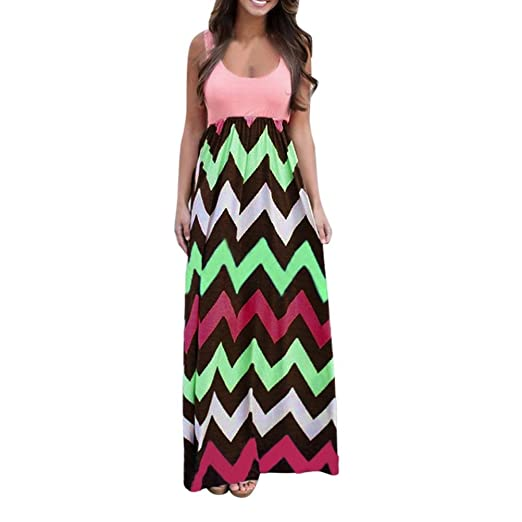 096583f3948 Womens Wave Striped Summer Beach Dress Party Long Maxi Dresses ...