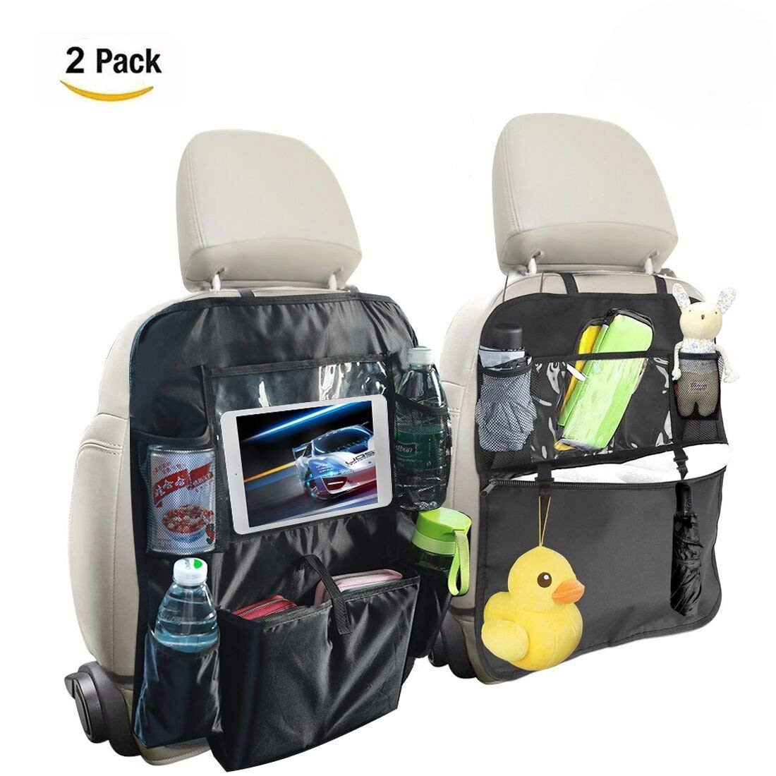 Car Back Seat Protectors for Kids and Toddlers Multi Pocket Waterproof Kick Mats Car Seatback Organizers with Touch Screen Ipad/Tablet Holder 2 Pack (Black)