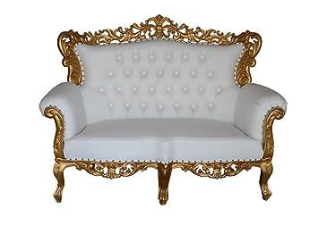 Barroco Muebles barroco sofá grande 2 plazas Dorado/Blanco ...