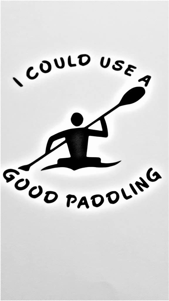"Chase Grace Studio I Could Use A Good Paddling Canoe Kayak Vinyl Decal Sticker|Black|Cars Trucks Vans SUV Laptops Wall Art|5"" X 5""