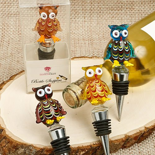 144 Murano Glass Owl Art Glass Top Bottle Stoppers by Fashioncraft