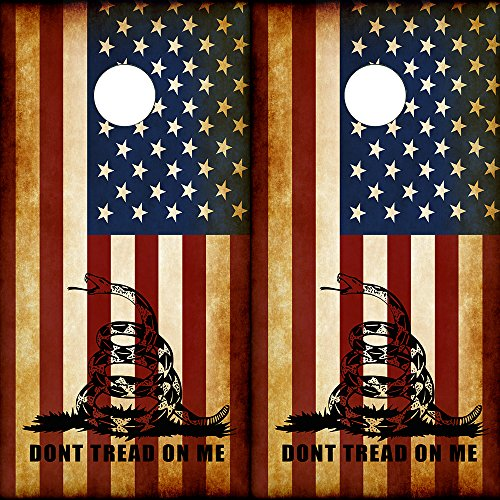 Speed Demon Hot Rod Shop Cornhole Board Wraps ~ Rustic American Flags ~ Dont Tread On Me DTOM Corn Hole Boards Laminated Decal Wraps (Set of 2) CHB