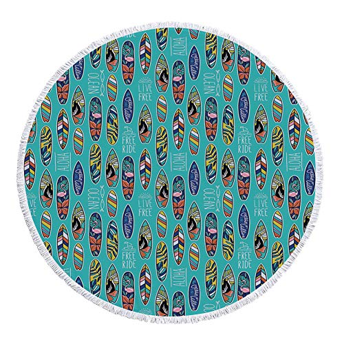 iPrint Thick Round Beach Towel Blanket,Surfboard,Aloha Hawaii Live Free Ocean Water Sports Inspired Pattern Coastal Inspirations Decorative,Multicolor,Multi-Purpose Beach Throw by iPrint