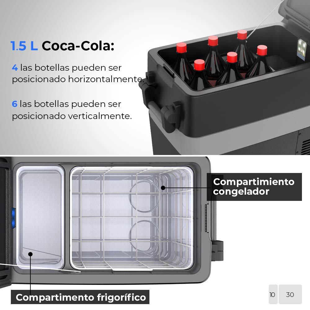 -20 hasta 10 /°C 40L Congelador Portatil Refrigerador para Coche Cami/ón Camper Furgoneta Caravana Viaje Casa Conexiones 12//24 V ISSYZONE Nevera Coche Portatil Electrica con Compresor