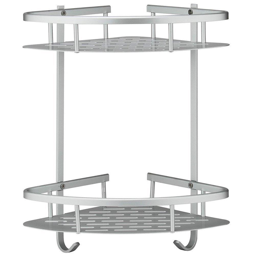 HOVEXUN Bathroom Shelf Aluminum 2 Tiers Shower Shelf Kitchen Storage Basket Mounted Corner Shelves Shower Caddy