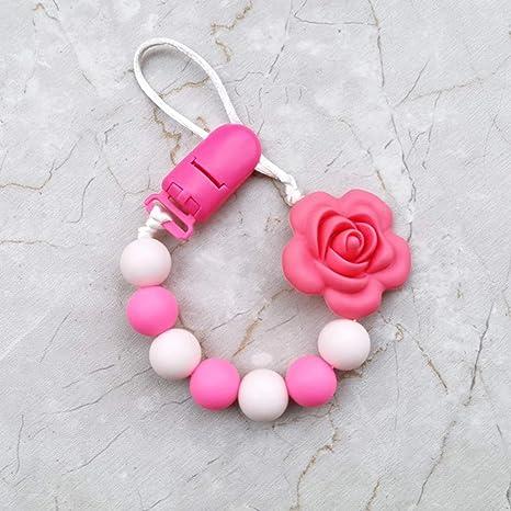 ❤ Chupete para niños con cadena de estilo rosa y cadena ...