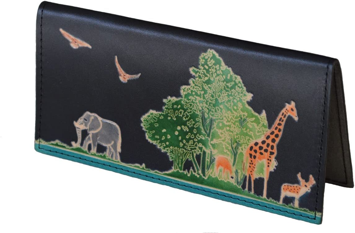 "BPLeathercraft Genuine Leather Checkbook Cover,""Animal Kingdom"" Pattern Embossed (Black)"