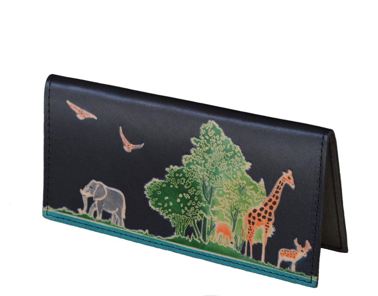 Genuine Leather Checkbook Cover, ''Animal Kingdom'' Pattern Embossed, More Color (Black)
