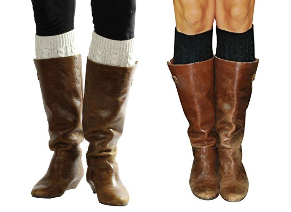 Lucky Love Boot Cuffs for Women, Cute Leg Warmer Boots Topper, Knit Boot Socks (Black + Cream)