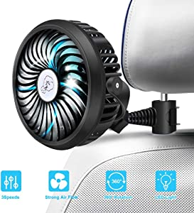 Car Fan 2200mAh Battery Powered Mini Fan with Quiet 3 Speed 360° Rotatable Function for Car Seat Passenger, Dog, Bike in Summer
