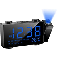 """SZMDLX Projection Alarm Clock for Bedrooms, FM Radio Alarm Clock with Temperature Display, 6"""" Large LED Display Dimmer…"""