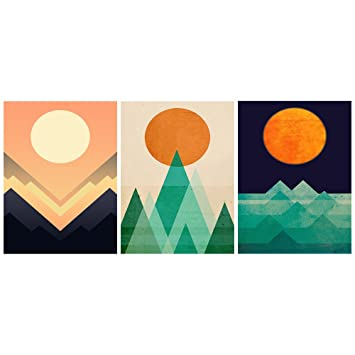 GEVES Sunrise Sunset Mountain Abstract Geometric Wall Art Canvas Paintings  Posters Prints For Living Room Bedroom