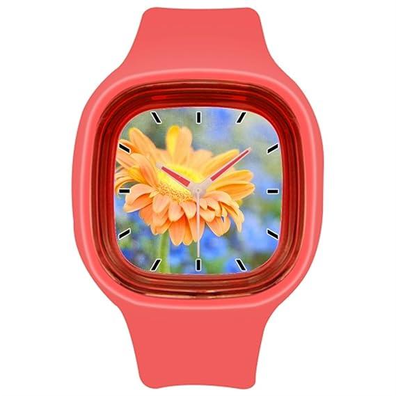 kosmore deportes naranja flores goma para hombre relojes mujer reloj deportivo rojo