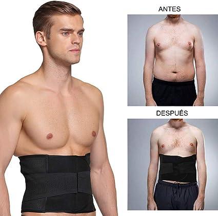 Negro Healifty Cintur/ón de Lumbar de Deporte Ajustable Faja de P/érdida de Peso para Hombres