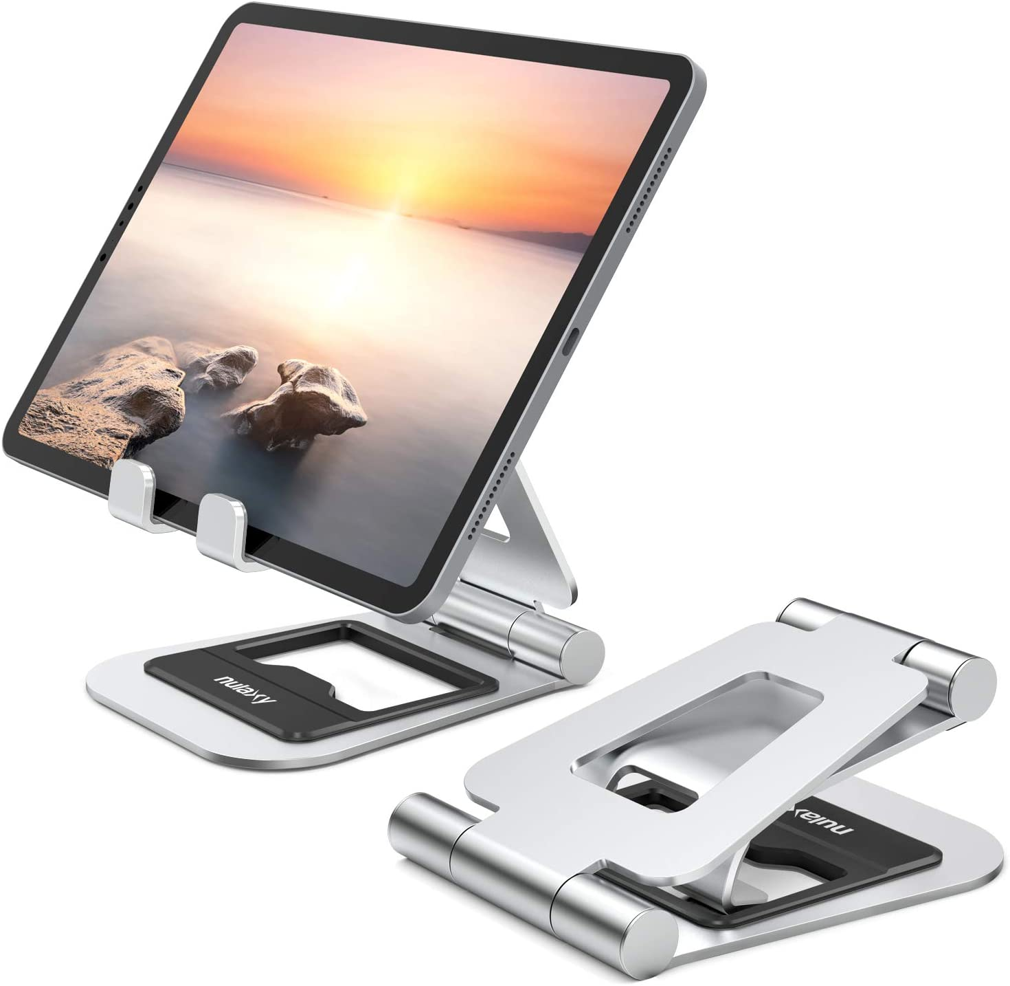 Nulaxy A5 Tablet Stand, Fully Foldable Tablet Holder Stand Compatible with iPad Pro 12.9,10.5, 9.7, Air Mini 4 3 2, iPhone 11 pro Xs Max Xr X, Kindle, Nexus, Tab, E-Reader (4.7-13'')-Silver