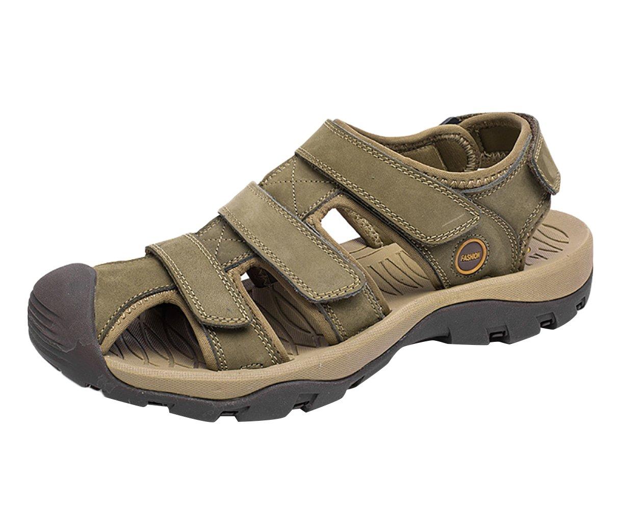 SK Studio Punta Cerrada Sandalias Hombre Trekking de Cuero Talla Grande Transpirables Zapatos Con Velcro 44 EU|Verde caqui