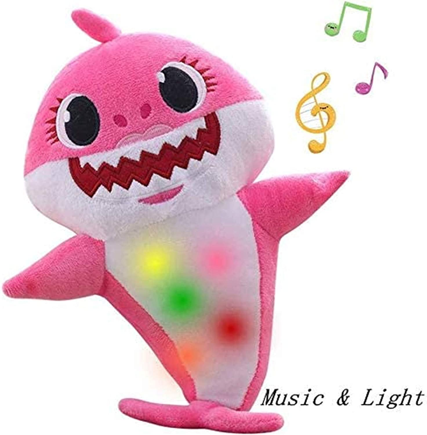 Jiahao Children's Soft Toy Shark Baby,Singing and Lightening Baby Shark Plush Doll,is The Best Gift for Boys and Girls(Pink)