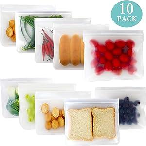 Reusable Sandwich Bags Snack Storage Bags Reusable Food Freezer Plastic Bags 10 Pack