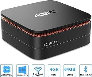 ACEPC AK1 Mini PC, Windows 10 Pro(64-bit) Intel Celeron Apollo Lake J3455 Processor(up to 2.3GHz) Desktop Computer,4GB DDR3/64GB eMMC,2.4G+5G Dual WiFi,Gigabit Ethernet,BT 4.2,4K