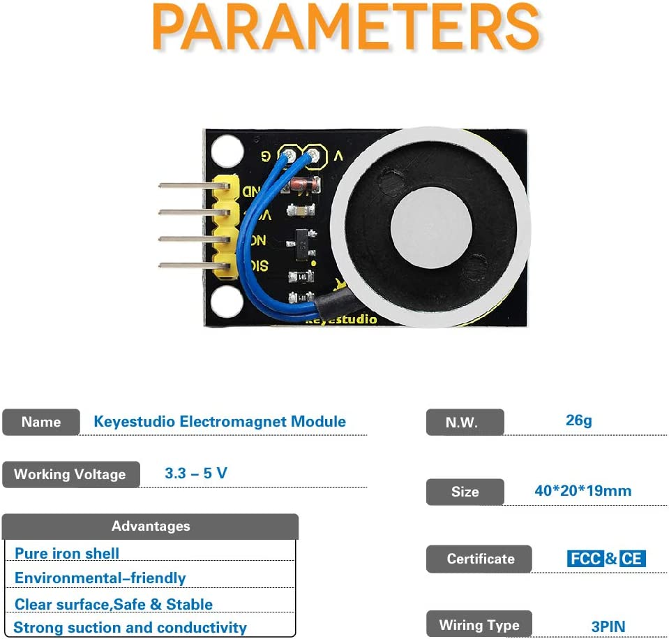 MagiDeal M/ódulo de Electroim/án Keyestudio para Proyectos de Arduino DIY Herramientas