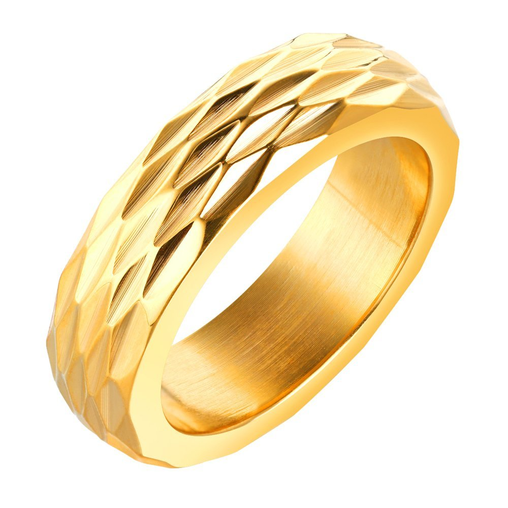 Onefeart Stainless Steel Ring For Men Boy Rhombus Cutting Design Gold Size 8 Personality Cool Male Ring