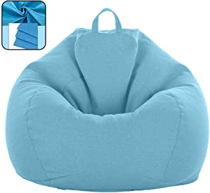 BCAWAN Lazy Beanbag Sofas Cover Chairs Without Filler Linen Cloth Lounger Seat Bean Bag Puff Asiento Couch Tatami Living Room Furniture,A,100120cm