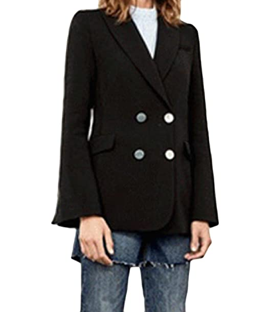 Abetteric Women Solid Pocketed Mid Long Double Breasted Blazer Dress
