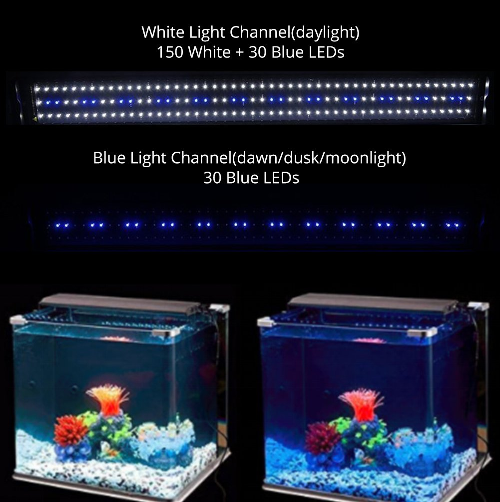 NICREW Eclairage Aquarium LED 2 Mode Lampe LED pour Aquarium Lumiere Aquarium Plantes 7000K PT031/_5 32W Rampe LED pour Aquarium deau Douce 116-136 cm
