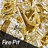 Fireglass 10-pound Reflective Fire Glass with Fireplace Glass and Fire Pit Glass, 1/2-inch, Gold For Sale