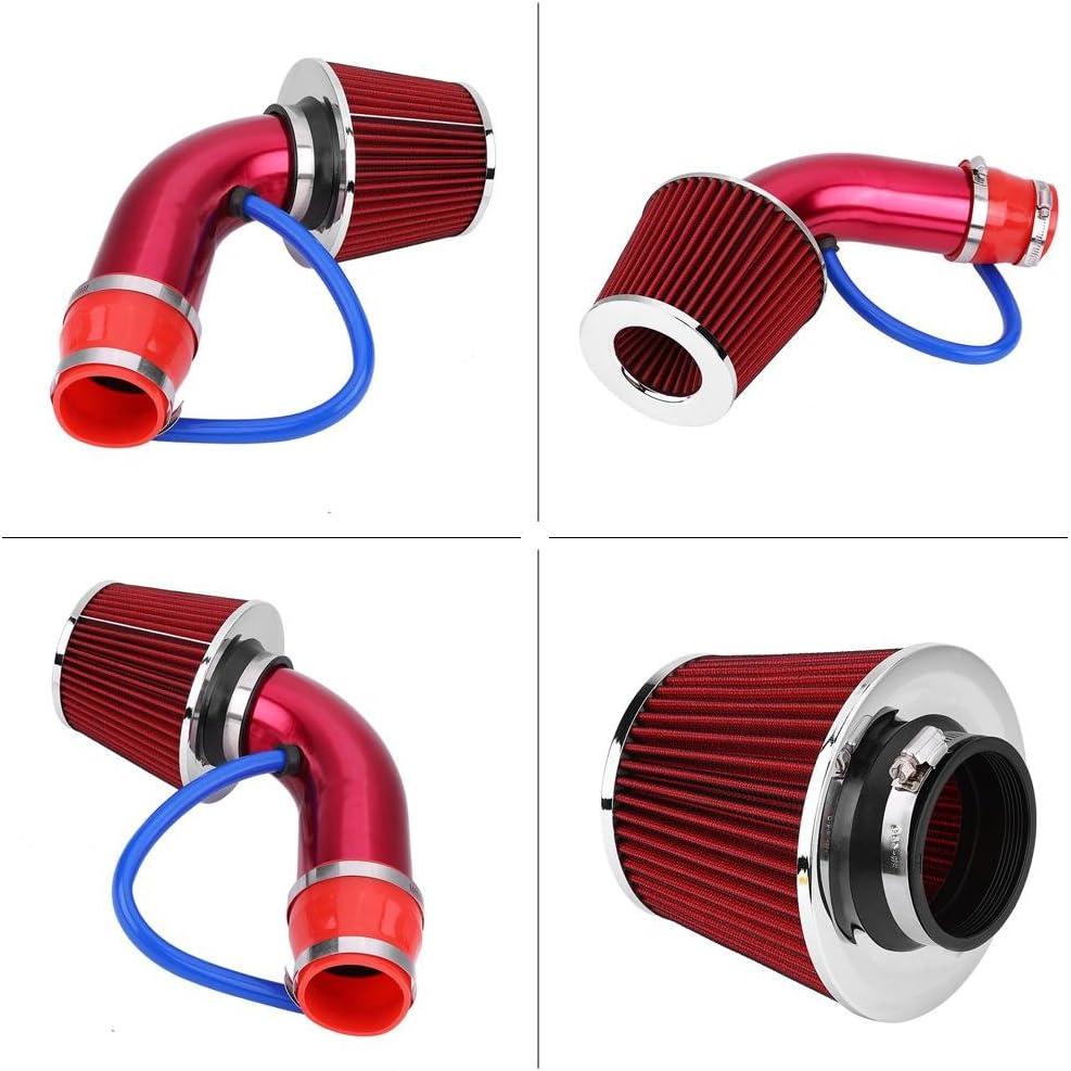 Auto Luftfilter Eingang 76 mm 3 Zoll Universal Auto Luftfilter Kaltluftfilter mit Induktionsschlauch aus Aluminium