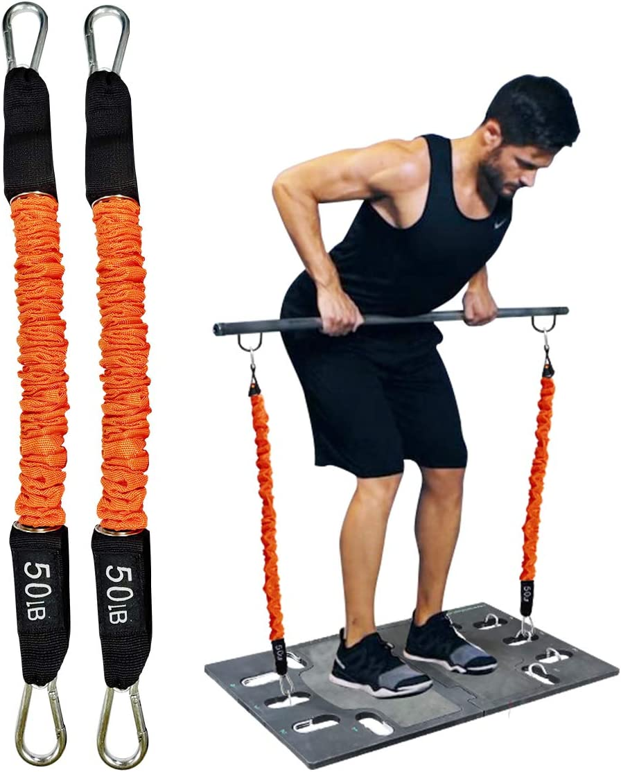 Resistance Bands Portable Home Gym Accessories Full Body Stretch Exercise Tubular Bands to Build Muscle Burn Fat Protective Nylon Sleeves Anti-Snap Fitness Add Bands (Bar and Board are NOT Included)