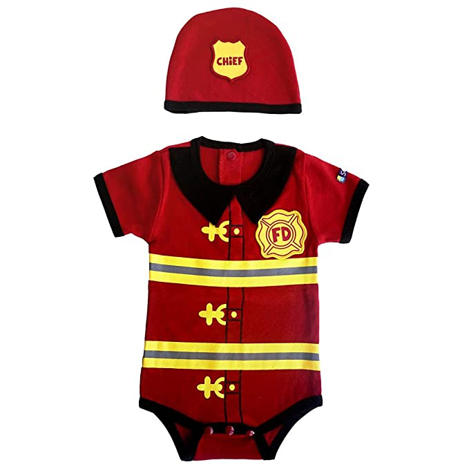 Amazon.com: Niños body de bombero y Cap Set, 12 meses, Rojo ...