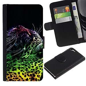 KingStore / Leather Etui en cuir / Apple Iphone 5 / 5S / El leopardo mancha puntos gato grande salvaje de neón Arte