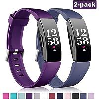 Vobafe 2 Pack Bandje Compatibel met Fitbit Inspire Bandje/Fitbit Inspire HR Bandje, Zachte Siliconen Sportband Vervangende Bandje Compatibel met Fitbit Inspire/Inspire HR/Ace2, S L