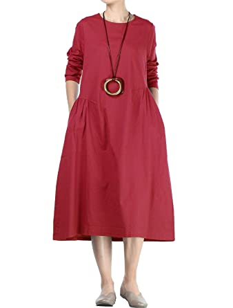 Mordenmiss Women's Cotton Linen Dresses Fall Loose Fit Basic Dress With Pockets by Mordenmiss