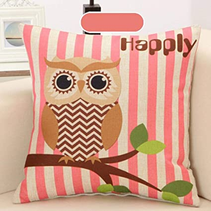 Amazon.com: Owl Cushion Cover Decorative Pillowcase Throw ...
